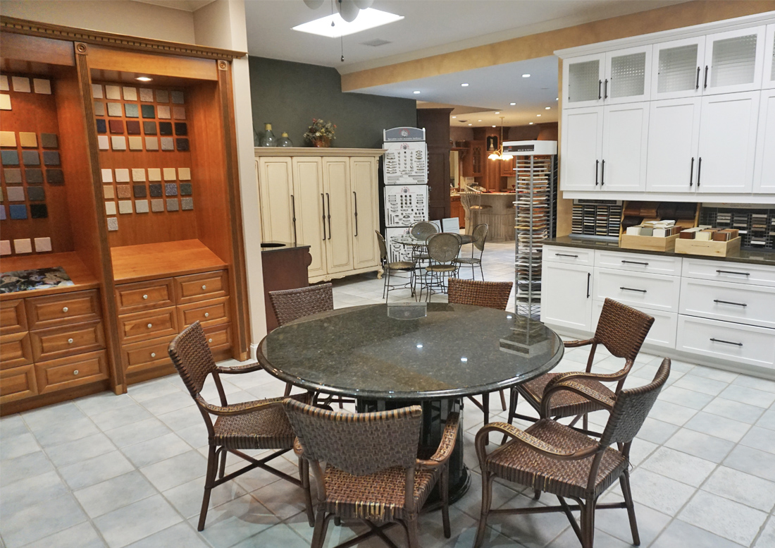 Photograph showing the conference table area in our New Jersey kitchen showroom