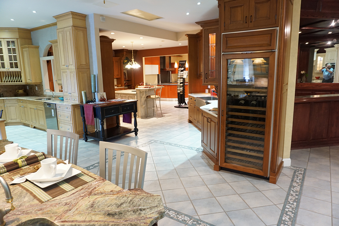 A range of kitchens are apparent in this photograph of our central New Jersey kitchen showroom