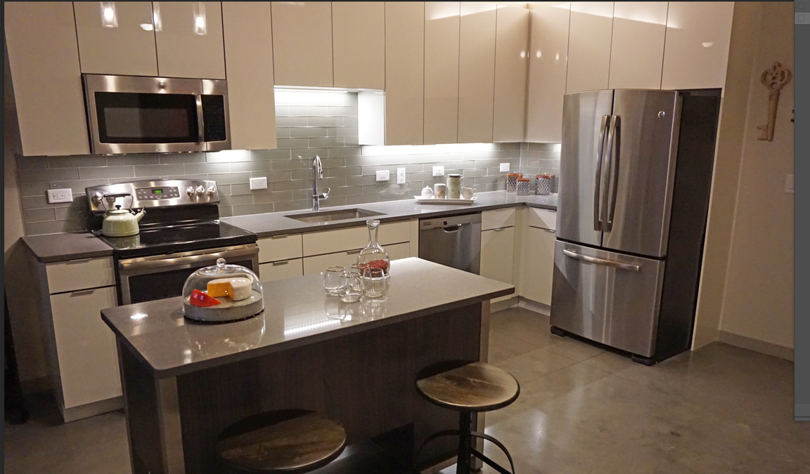 A new, modern kitchen in an apartment building in New Jersey that was designed and installed by Kitchen Classics
