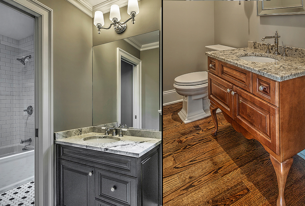 Custom bathroom cabinetry and countertops are shown in this picture. Kitchen Classics provides the design and installation of a full line of custom bathroom cabinetry, countertops and amenities for home builders and remodelers