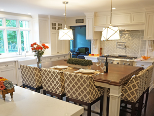 Photograph of the center island, stove area, and sink area of a renovated kitchen in basking ridge, nj new kitchen in an addition