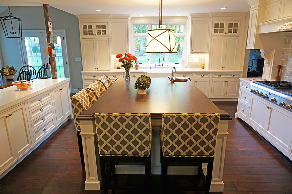 Picture of the large, beautiful center island that seats five in this somnerset county New Jersey kitchen renovation