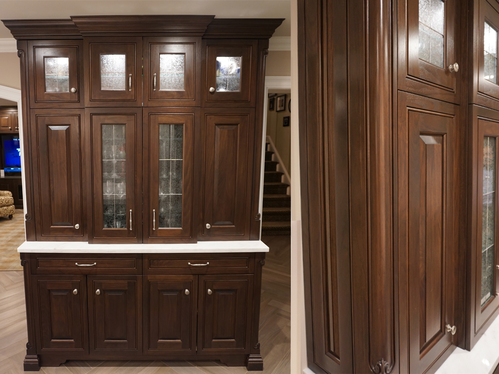 Photograph of a custom kitchen hutch designed and built by Kitchen Classics