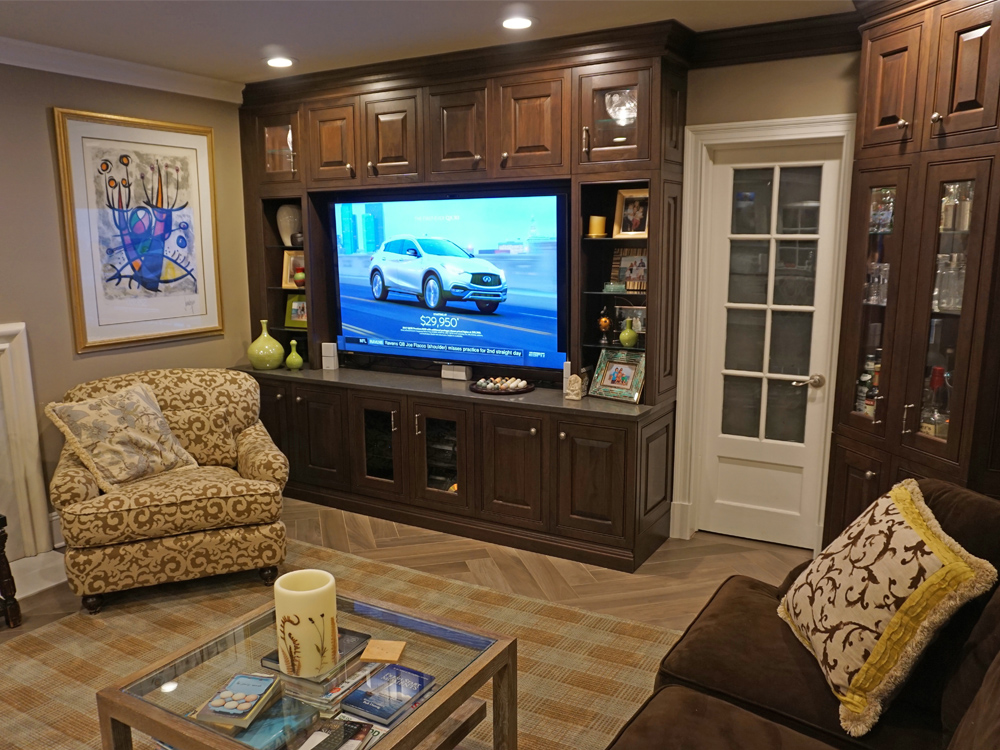 Photo of new entertainment center in the family room of this renovated westchester county New York home