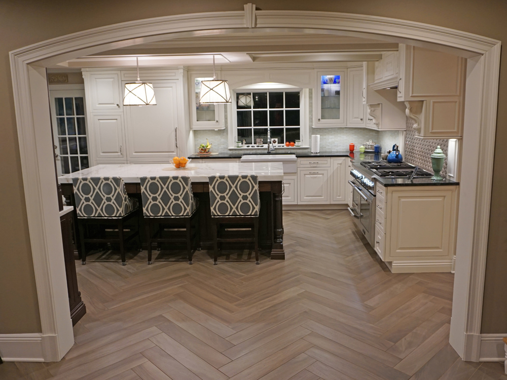 A beautiful new white cabinet kitchen was designed and installed in the classic old westchester home