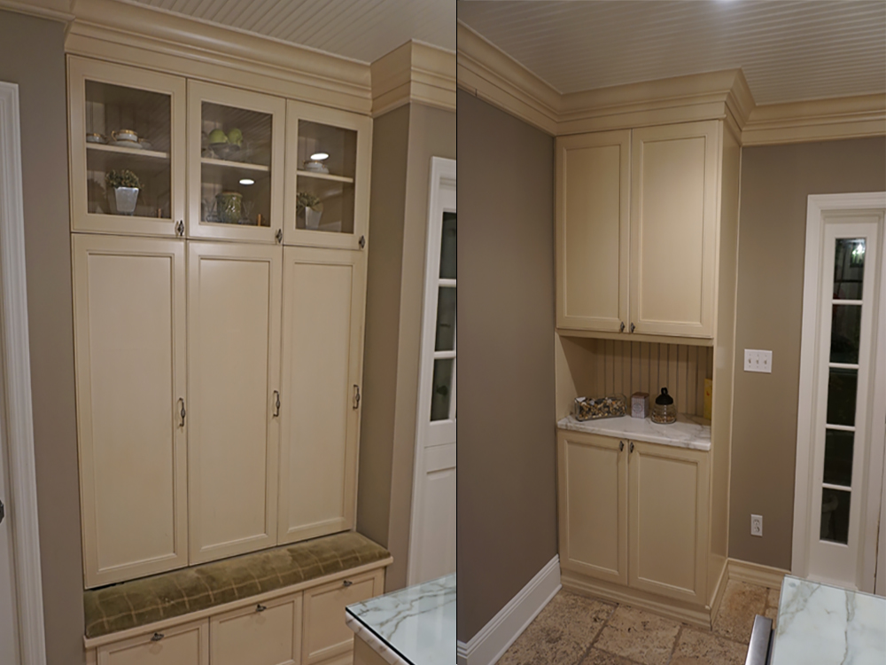 This westchester county, ny mudroom had custom cabinets installed as lockers for each of the children.