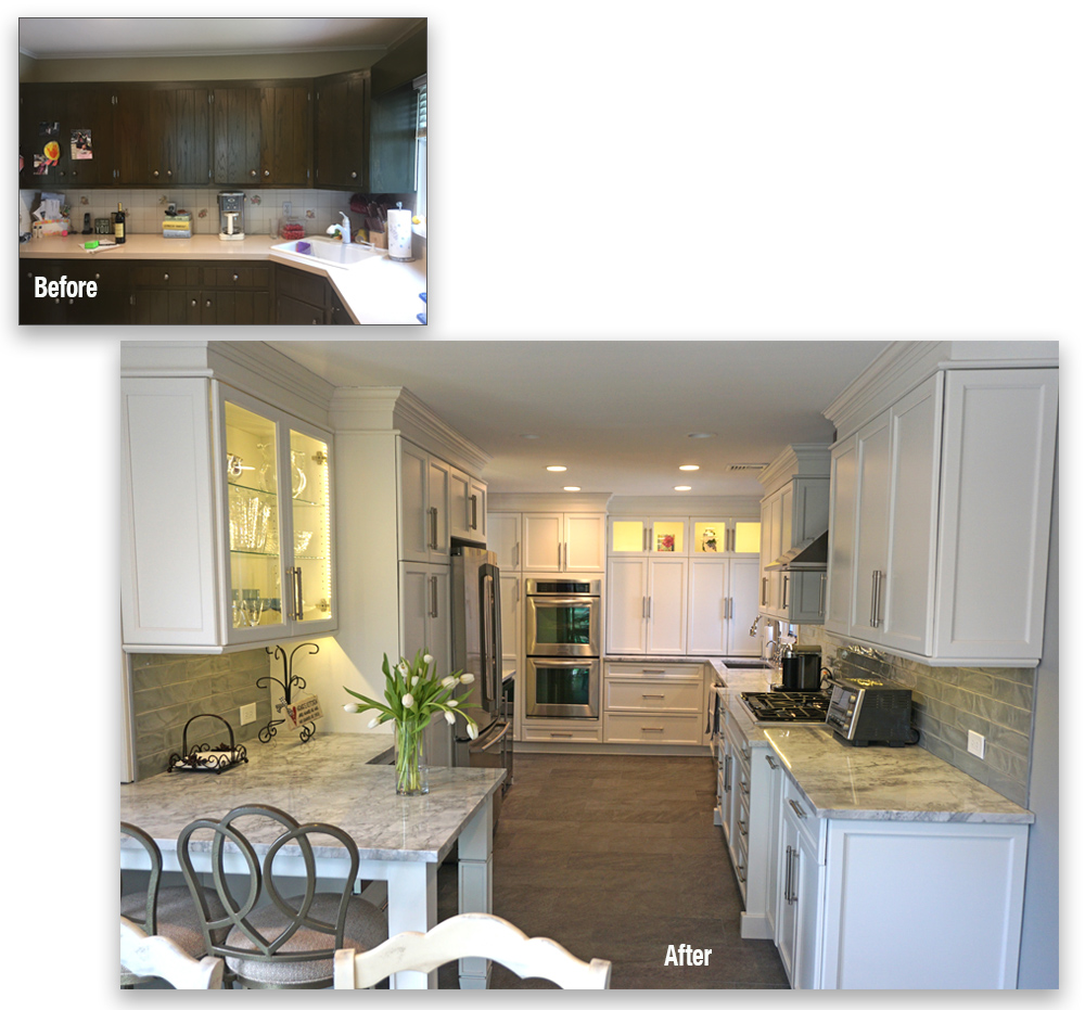 This complete kitchen renovation replaced dark stained cabinets with bright white cabinets throughout. Additional lighting brightened the kitchen even more.