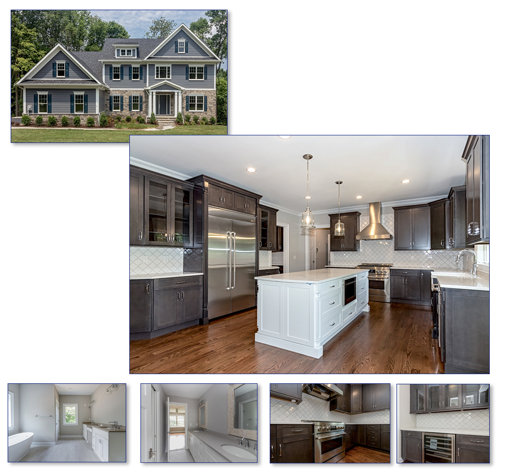 Multiple pictures of a new home with kitchen and baths on gregory lane in warren new jersey, somerset county.
