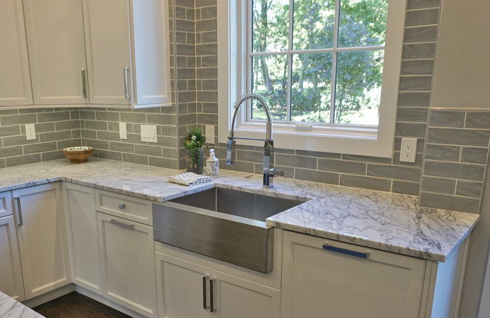 A farmhouse sink installed in a new kitchen in short hills
