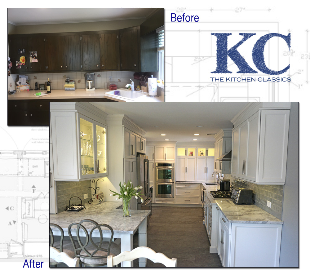 Pictures of a complete kitchen remodeling project done in springfield nj by The Kitchen Classics