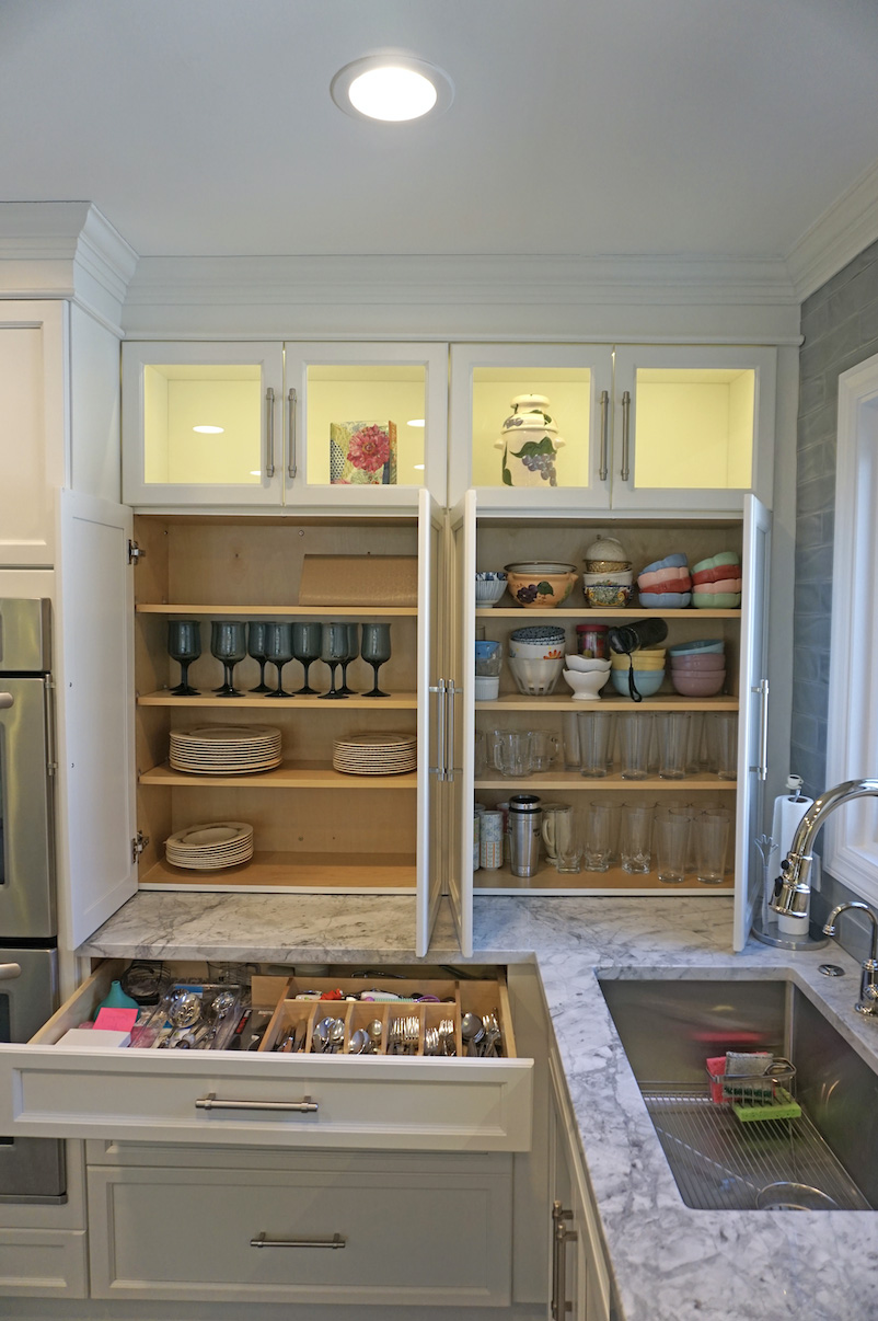 frameless cabinets provide the widest storage options