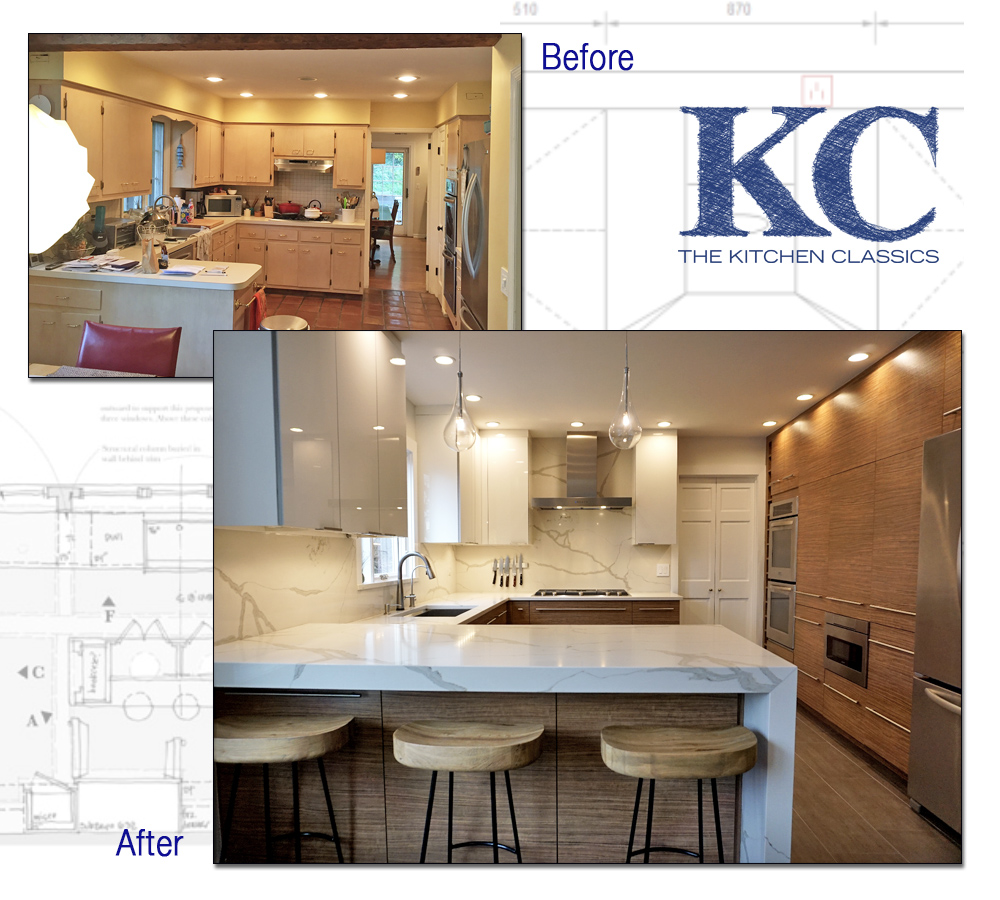 Before and after pictures of a Summit, NJ kitchen remodel from kitchen classics