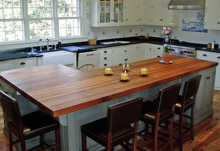 Picture of a wooden kitchen countertop we sell