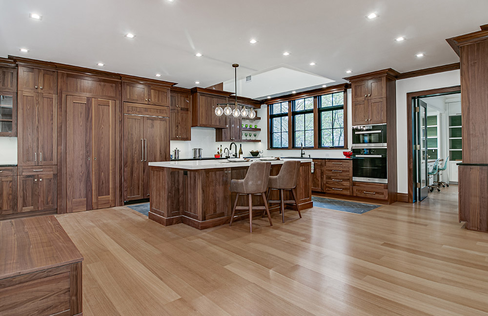This Summit, NJ kitchen features a natural Walnut wood cabinet theme